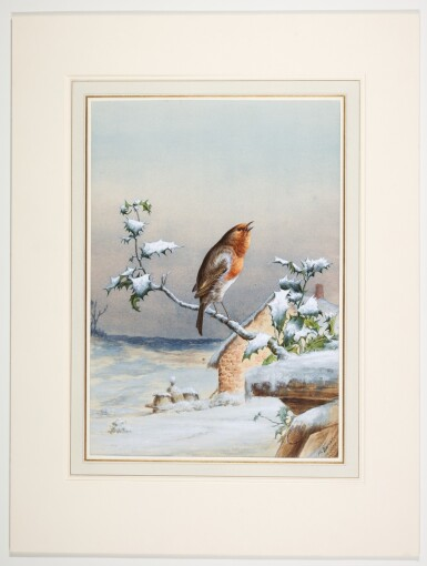 View 4. Thumbnail of Lot 143.  Winter - A Cock Robin; Winter - A Robin and Wren.