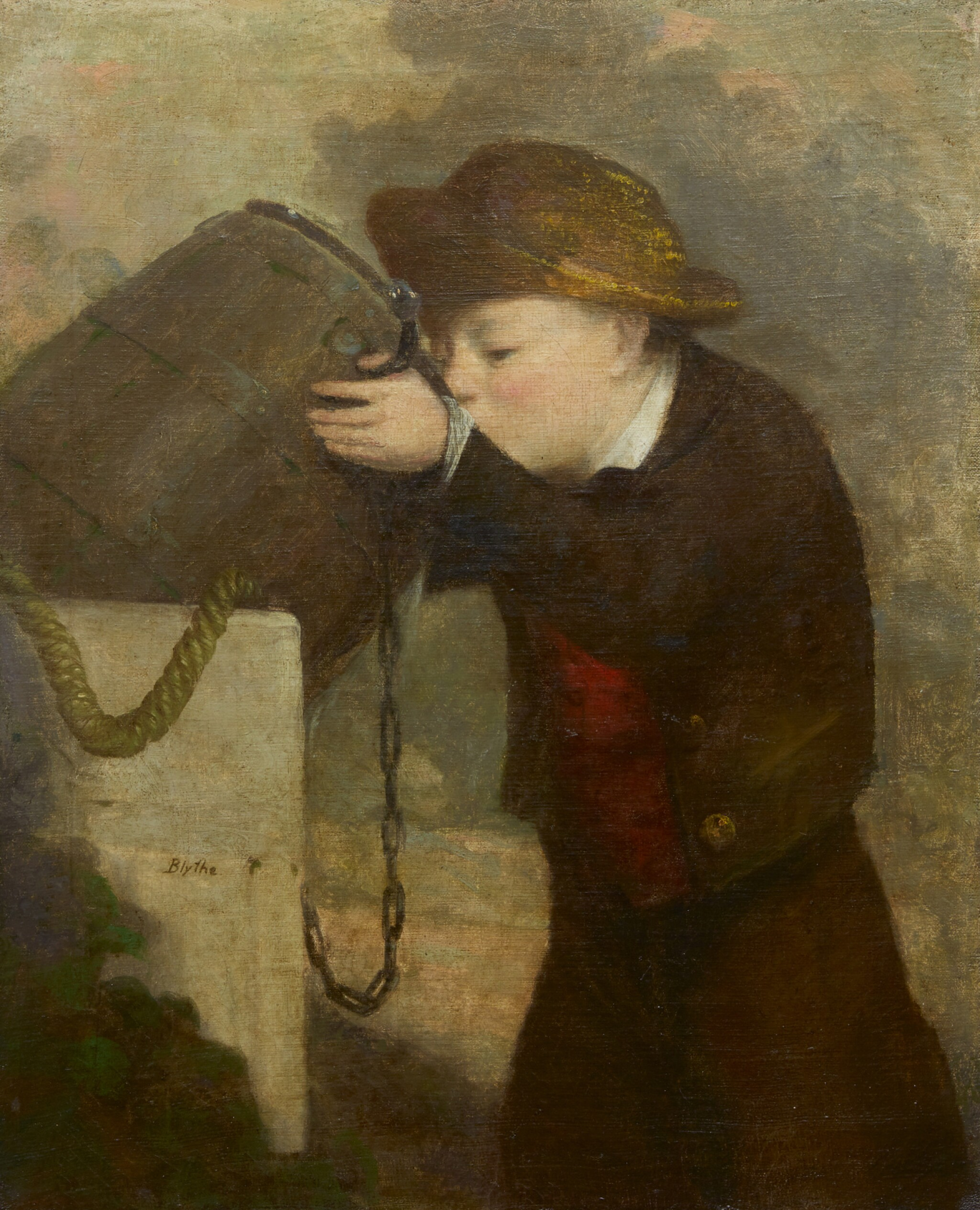 View full screen - View 1 of Lot 41. DAVID GILMOUR BLYTHE | BOY DRINKING FROM A BARREL.