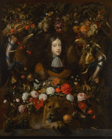 STUDIO OF JAN DAVIDSZ. DE HEEM   Portrait of William III (1650–1702), Prince of Orange, Count of Nassau, within a garland of flowers and fruit, with a lion holding an orange in its paws