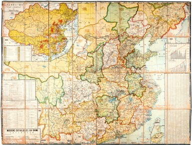 Prud'homme | large map of China, Missions catholiques en Chine, (1936)