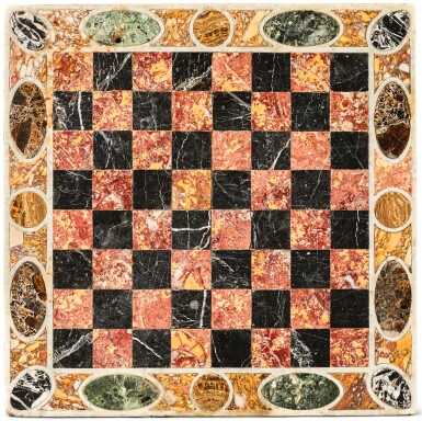 AN ITALIAN PIETRE DURE CHESS BOARD, ROME EARLY 17TH CENTURY