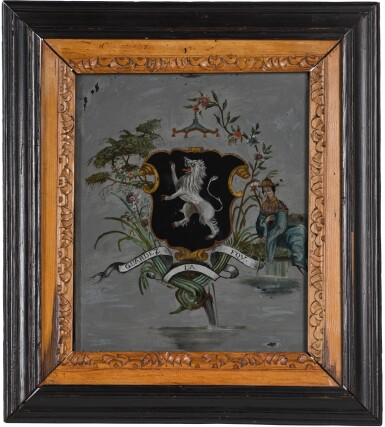 A CHINESE EXPORT STYLE REVERSE PAINTED GLASS ARMORIAL PANEL