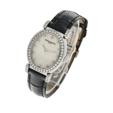 View 2. Thumbnail of Lot 92. Reference 10540   A white gold and diamond-set oval wristwatch, Circa 1994.