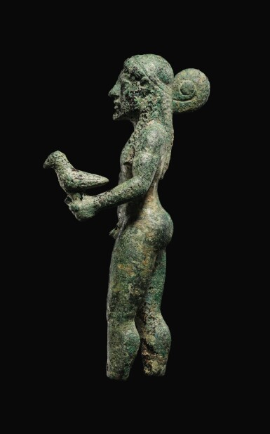 View 3. Thumbnail of Lot 7. A GREEK BRONZE FIGURE OF ZEUS, 6TH CENTURY B.C..