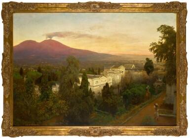 View 2. Thumbnail of Lot 161. Campo Santo in Poggioreale, the Vesuvius Beyond.