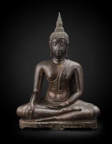 View 1. Thumbnail of Lot 238. A large bronze seated Buddha Thailand, Ayutthaya period, 15th-17th century | 暹邏 十五至十七世紀 阿瑜陀耶式銅佛坐像.