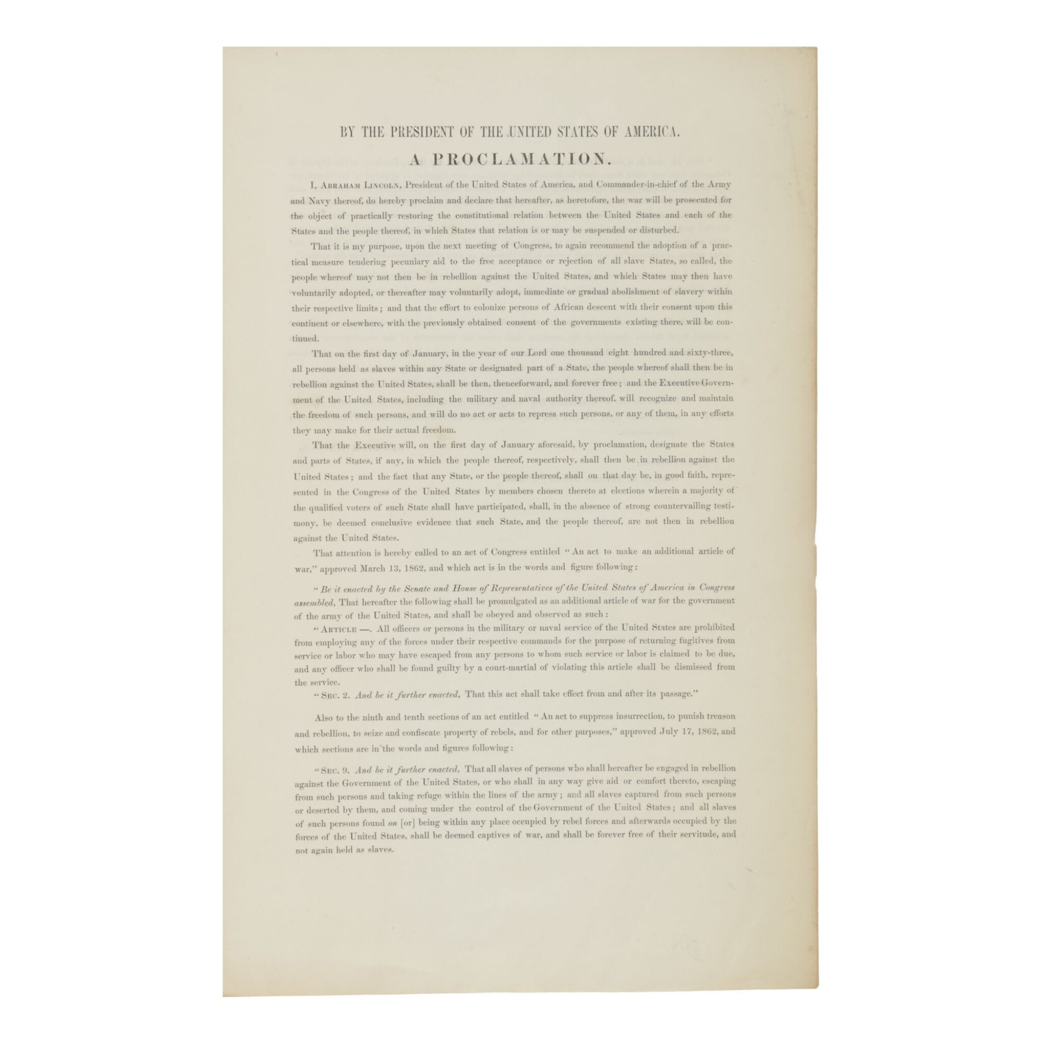 View full screen - View 1 of Lot 302. Lincoln, Abraham | The earliest obtainable printing of the Emancipation Proclamation in any form.