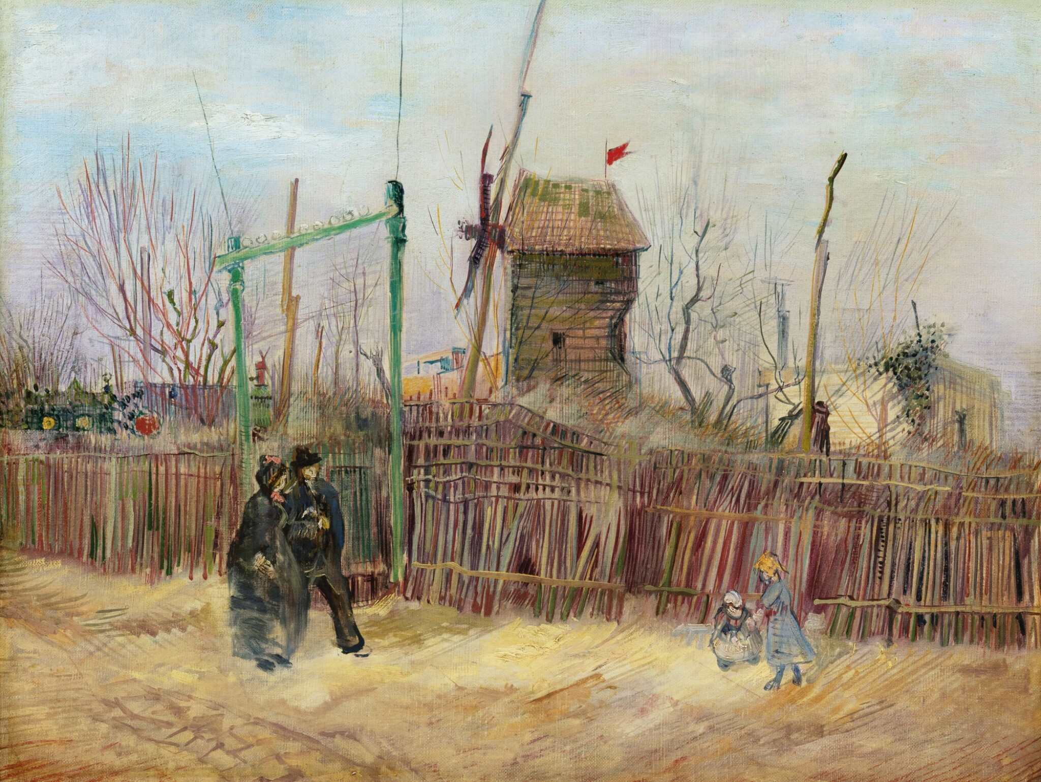 View full screen - View 1 of Lot 6. Scène de rue à Montmartre (Impasse des Deux Frères et le Moulin à Poivre)      .