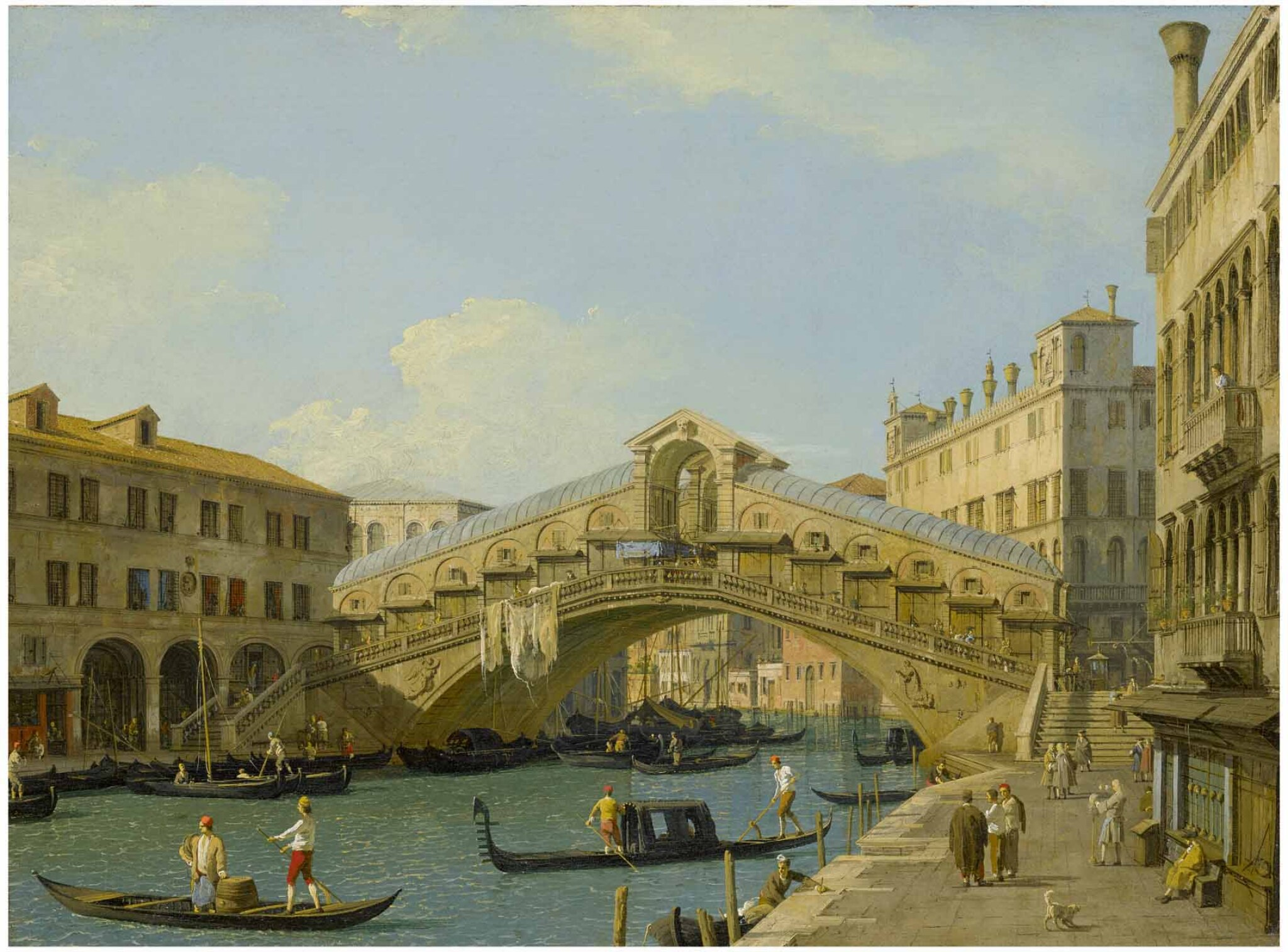 View full screen - View 1 of Lot 12. GIOVANNI ANTONIO CANAL, CALLED CANALETTO | VENICE, A VIEW OF THE GRAND CANAL LOOKING NORTH TOWARDS THE RIALTO BRIDGE .