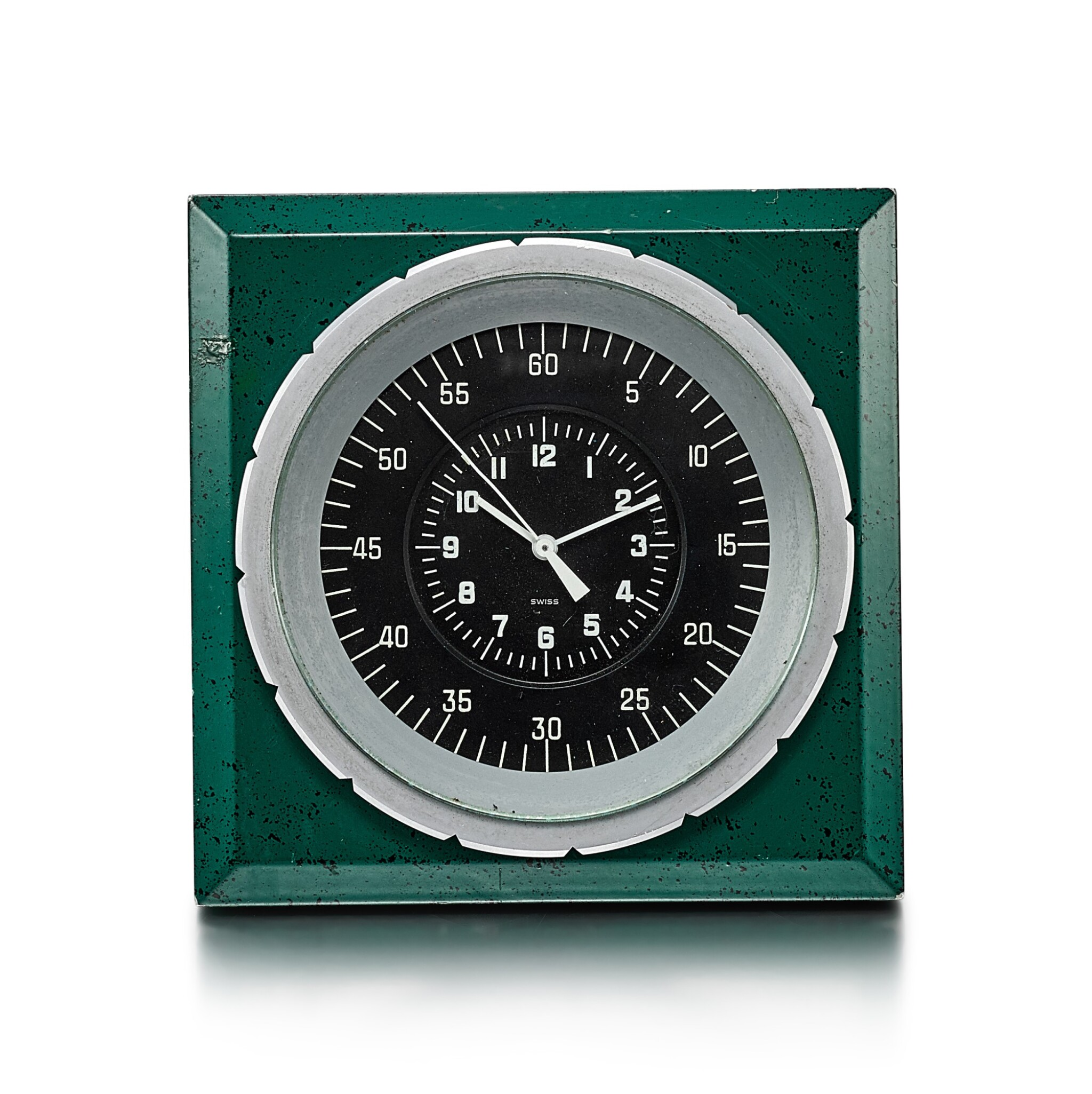 View full screen - View 1 of Lot 8089. PATEK PHILIPPE FOR ROLEX | A GREEN PAINTED METAL ELECTRIC DESK CLOCK, CIRCA 1970.