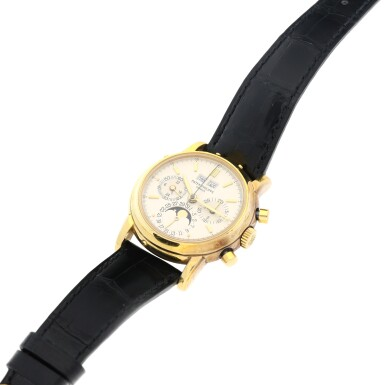 View 7. Thumbnail of Lot 31. REFERENCE 3970/E 'SECOND SERIES' A YELLOW GOLD PERPETUAL CALENDAR CHRONOGRAPH WRISTWATCH WITH MOON PHASES, 24 HOURS AND LEAP YEAR INDICATION, MADE IN 1987.