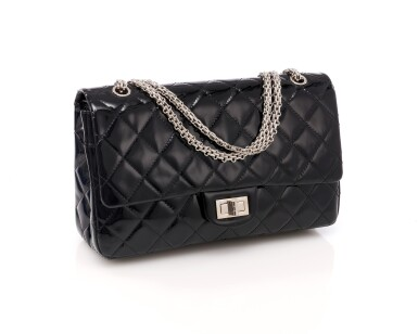 View 1. Thumbnail of Lot 134. Black patent leather and silver-tone metal 2.55 reissue shoulder bag.