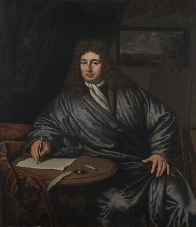 View 1. Thumbnail of Lot 38. MICHIEL VAN MUSSCHER | Three quarter-length portrait of an artist seated at his writing table.