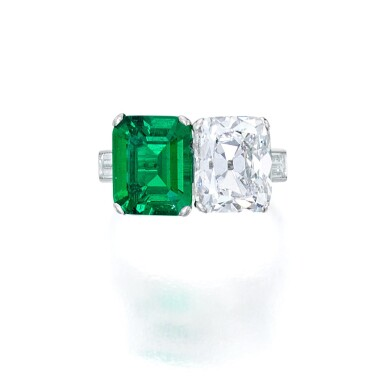 View 1. Thumbnail of Lot 76. Emerald and Diamond Ring.