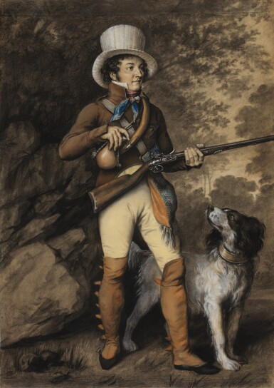 View 1. Thumbnail of Lot 108. JULIEN-LÉOPOLD BOILLY, CALLED JULES BOILLY  |  PORTRAIT OF A HUNTER AND HIS DOG, TRADITIONALLY IDENTIFIED AS THE ARTIST LOUIS BOILLY, IN HUNTING COSTUME.