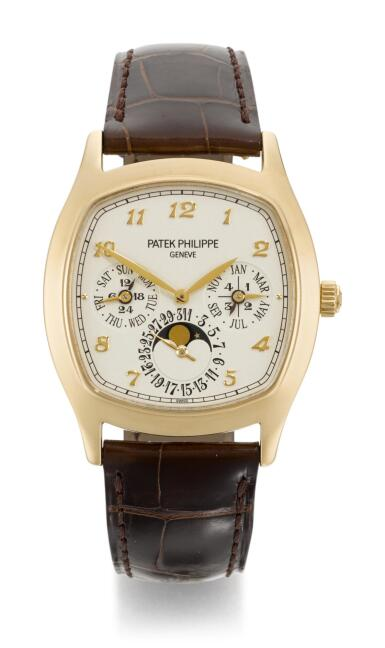 View 1. Thumbnail of Lot 18.  PATEK PHILIPPE   REFERENCE 5940J-001  YELLOW GOLD CUSHION-SHAPED PERPETUAL CALENDAR WRISTWATCH WITH MOON-PHASES, 24 HOUR AND LEAP-YEAR INDICATION  MADE IN 2013.