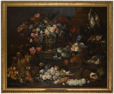 FELICE FORTUNATO BIGGI, CALLED 'FELICE DEI FIORI' | A still life of flowers in an urn on a ledge,  surrounded by other flowers, fruit and  vegetables, as well as a chicken, duck,  guinea pig and game
