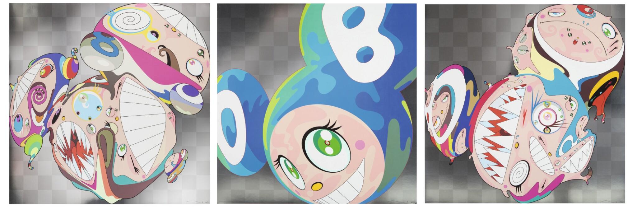 View full screen - View 1 of Lot 100. TAKASHI MURAKAMI | MELTING DOB A; MELTING DOB D; AND MELTING DOB E.
