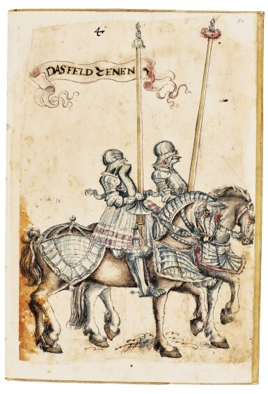 View 4. Thumbnail of Lot 9. WORKSHOP OF HANS BURGKMAIR THE ELDER | A 'TOURNAMENT BOOK', WITH 16 NUMBERED SHEETS OF DRAWINGS OF KNIGHTS, MOSTLY ON HORSEBACK, IN PAIRS .