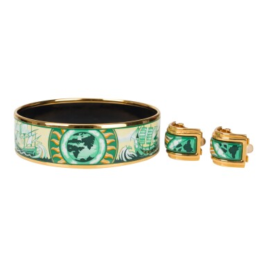 """View 2. Thumbnail of Lot 98. Hermès Vintage """"Sailing Ships"""" Enamel Jewelry Set of Wide Printed Enamel Bracelet PM (65) and Clip On Enamel Earrings With Gold Plated Hardware."""