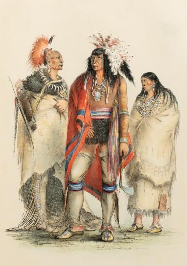 View 1. Thumbnail of Lot 146. CATLIN. North American Indians portfolio. Londres, 1844. 25 planches coloriées à la main. Premier tirage..