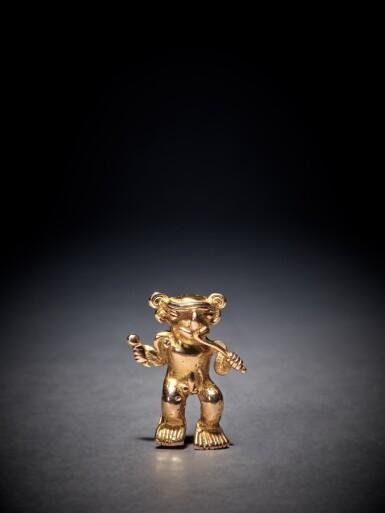 View 1. Thumbnail of Lot 91. Chiriquí Gold Figure of a Musician Circa AD 800 - 1500.
