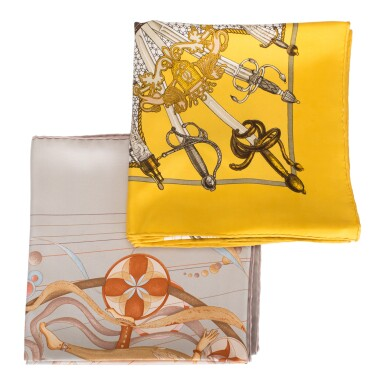 "View 1. Thumbnail of Lot 98. Hermès Set of Two Scarves:""La Danse du Cosmos"" Silk Twill Scarf 90cm and ""Armeria"" Silk Twill 90cm."