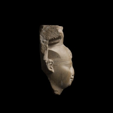 View 4. Thumbnail of Lot 36. An Egyptian Limestone Head of a King, early Ptolemaic Period, circa 304-350 B.C..