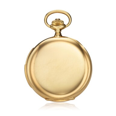 View 3. Thumbnail of Lot 98. Retailed By Spaulding & Co.: A yellow gold minute repeating hunting cased watch, Made in 1903.