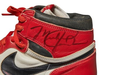 View 13. Thumbnail of Lot 1. Michael Jordan's Game Worn 1985 Player Sample Air Jordan 1s | Sizes 13, 13.5.