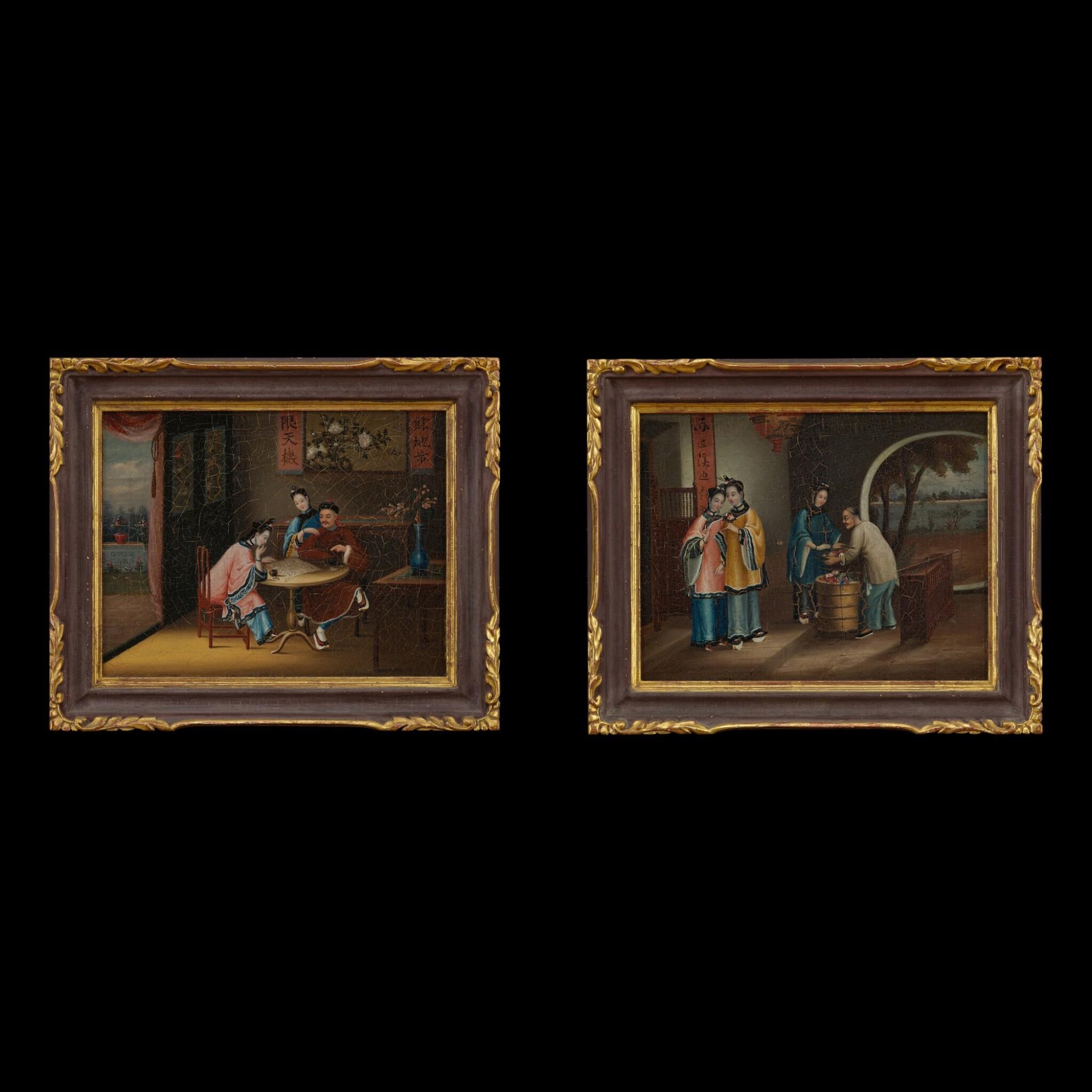View full screen - View 1 of Lot 184. Chinese School, mid 19th century Gentleman and Ladies Playing Chess and Ladies Buying Flowers | 中國畫派 十九世紀中葉   對弈圖、賣花圖一組兩幅 布本油畫 木框.