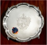 A WILLIAM IV SILVER LARGE SALVER, PAUL STORR, RETAILED BY STORR & MORTIMER, LONDON, 1834