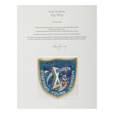"[APOLLO 10]. FLOWN ON APOLLO 10. ""GRUMMAN"" EMBROIDERED MISSION INSIGNIA PATCH FROM THE COLLECTION OF JOHN YOUNG"