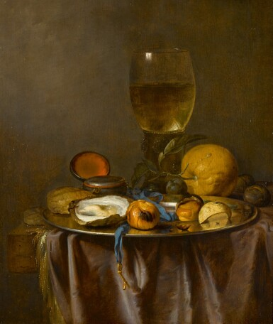 View 1. Thumbnail of Lot 158. Still life with a roemer, timepiece, oyster and fruit.