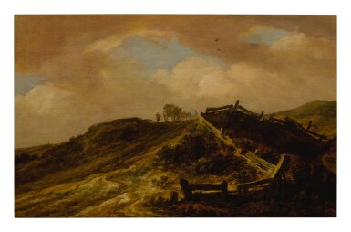 PIETER DE MOLIJN | A HILLY LANDSCAPE WITH TRAVELERS