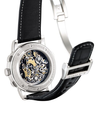 """View 3. Thumbnail of Lot 2067. A. LANGE & SÖHNE   SAXONIA DOUBLE SPLIT DATOGRAPH, REFERENCE 404.035F, A PLATINUM DOUBLE SPLIT CHRONOGRAPH WRISTWATCH WITH POWER RESERVE INDICATION AND HACKING DEAD SECONDS, CIRCA 2009   朗格   """"Saxonia Double Split Datograph 型號404.035F  鉑金雙追針計時腕錶,備動力儲備顯示,機芯編號47348,錶殼編號154626,約2009年製""""."""