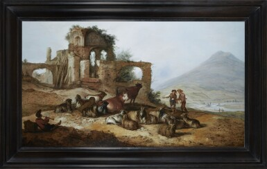 View 2. Thumbnail of Lot 245. JACOB SIBRANDI MANCADAN   SHEPHERDS WITH LIVESTOCK BY CLASSICAL RUINS IN AN EXTENSIVE LANDSCAPE, WITH A YOUTH PLAYING A PIPE IN THE FOREGROUND.