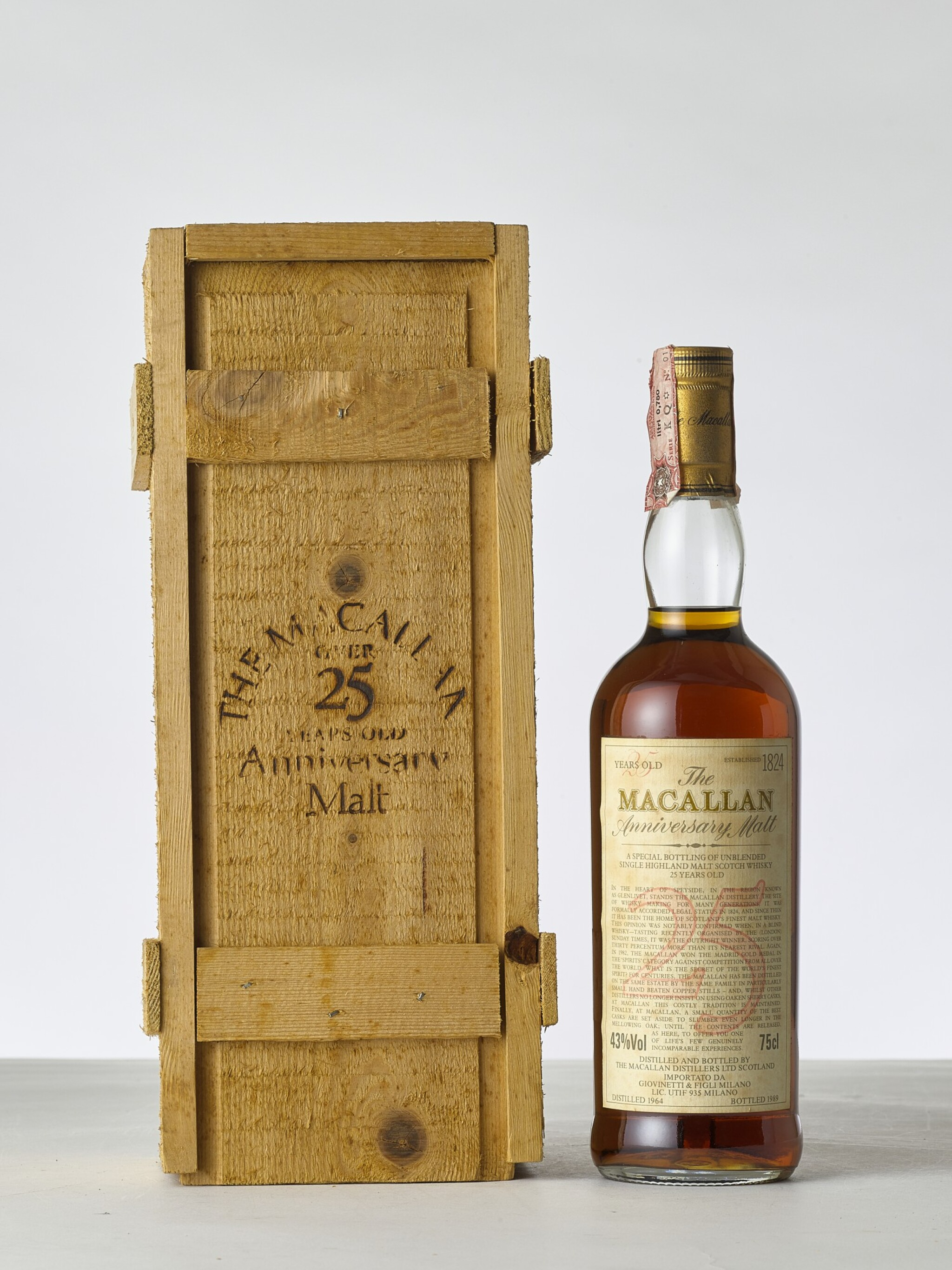 View 1 of Lot 2012. The Macallan 25 Year Old Anniversary Malt 43.0 abv 1964 (1 BT).