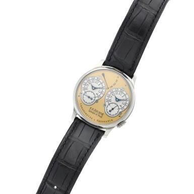 View 5. Thumbnail of Lot 422. Chronomètre à Résonance  A platinum dual time wristwatch with power reserve indication and brass movement, Circa 2002 .