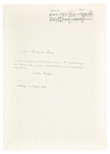 View 3. Thumbnail of Lot 92. Vienna. Autograph manuscripts by Bartok, Berg, Schoenberg, Strauss, Webern, Kokoschka, Schnitzler etc to D.J. Bach, 1924.