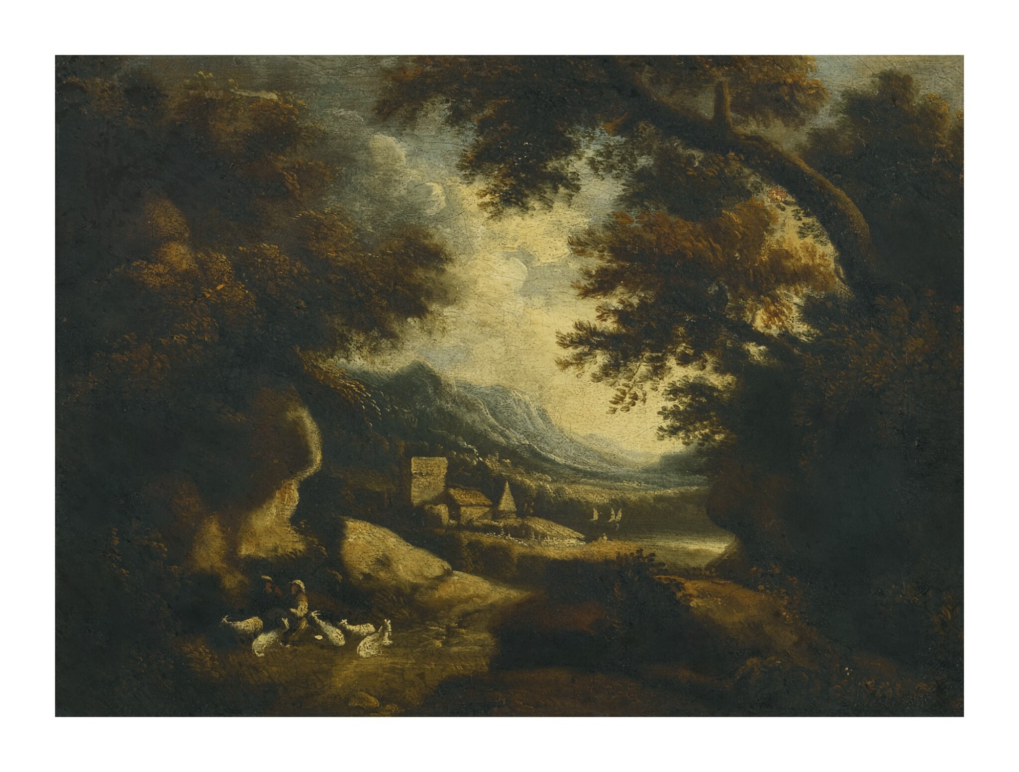 View full screen - View 1 of Lot 82. Sold Without Reserve   FOLLOWER OF JOHANNES GLAUBER   WOODED LANDSCAPE WITH FIGURES AND GOATS RESTING IN THE FOREGROUND, BUILDINGS AND A MOUNTAIN BEYOND.