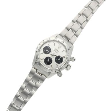 View 4. Thumbnail of Lot 276. Reference 6265 Daytona  A stainless steel chronograph wristwatch with registers and bracelet, circa 1975.