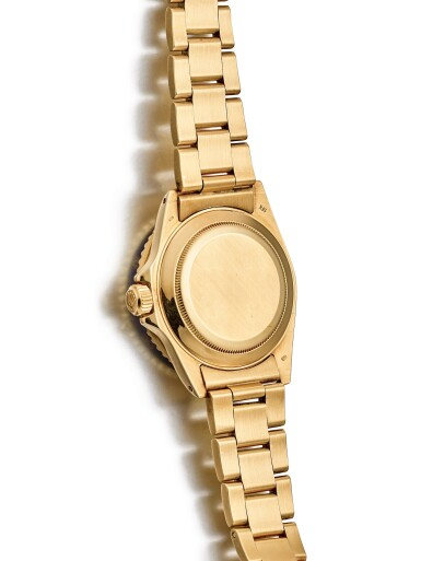 "ROLEX | SUBMARINER, REFERENCE 16808, A YELLOW GOLD WRISTWATCH WITH DATE AND BRACELET, CIRCA 1986 | 勞力士 | ""Submariner 型號16808 黃金鏈帶腕錶,備日期顯示,錶殼編號8510296,約1986年製"""