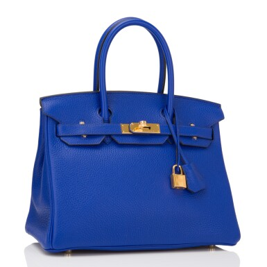 View 2. Thumbnail of Lot 13. Hermès Bleu Electrique Birkin 30cm of Clemence Leather with Gold Hardware.