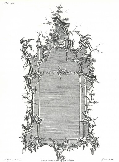 View 2. Thumbnail of Lot 164. A late George II carved giltwood wall mirror, after a design by Thomas Johnson, circa 1760.