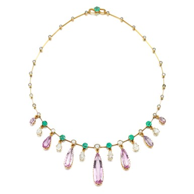 View 2. Thumbnail of Lot 29. Pink topaz, emerald, pearl and diamond necklace, late 19th century.
