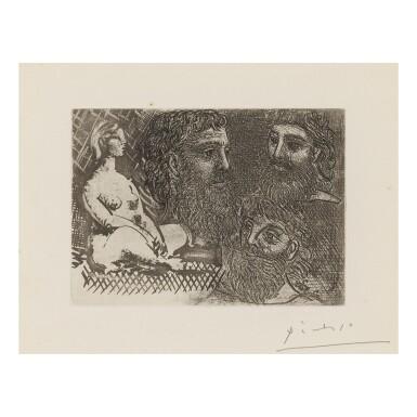 View 1. Thumbnail of Lot 154. PABLO PICASSO   MARIE-THÉRÈSE EN IDOLE ET TROIS GRECS BARBUS (B. 216; BA. 416).