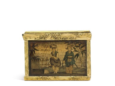 View 7. Thumbnail of Lot 11. A rare marquetry fruitwood snuff box with gold mounts, German, circa 1765.