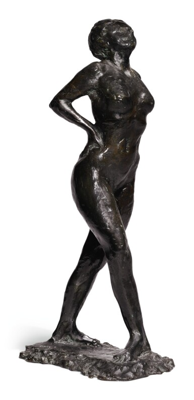 View 1. Thumbnail of Lot 40. Danseuse au repos, les mains sur les reins, la jambe droite en avant.