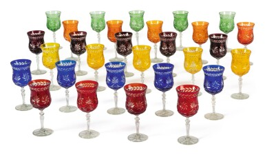 View 2. Thumbnail of Lot 285. A BOHEMIAN HARLEQUIN SUITE OF COLORED AND CUT WINE GLASSES, LATE 19TH/ 20TH CENTURY.